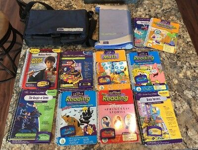 QUANTUM PAD Leap Lot Of 4 Books and Cartridges Leapfrog Carrying Bag And Console
