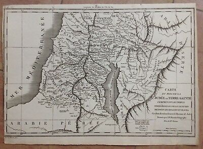 JUDEA HOLY LAND by FREMIN XIXe CENTURY ANTIQUE HISTORICAL DETAILED ENGRAVED MAP
