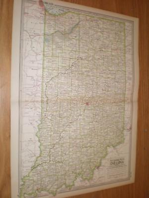 Old Antique 1897 Map Indiana Color City Town indianapolis evansville south bend