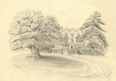 A.M.L., Astley Hall, Worcestershire - Original 1862 graphite drawing