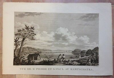 Russia Petropavlovsk Kamtchatka 1797 La Perouse Large Antique Engraved View