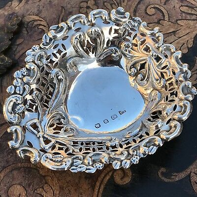 Antique Victorian Heart Shaped 1896 Sterling Silver Jewellery/trinket Dish