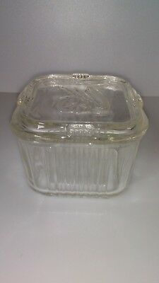 Vintage Small Square Clear Glass Refrigerator Dish With Lid 1200