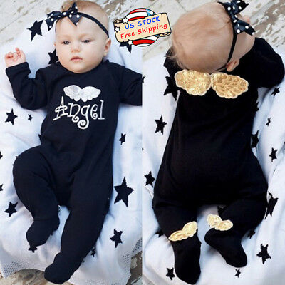 62a84d77186 US Newborn Baby Girl Letter Romper Bodysuit Jumpsuit Angel Wings Outfits  Clothes