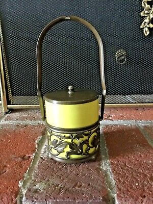 Antique Victorian? Brass Condiment Jar With Yellow Glass Insert
