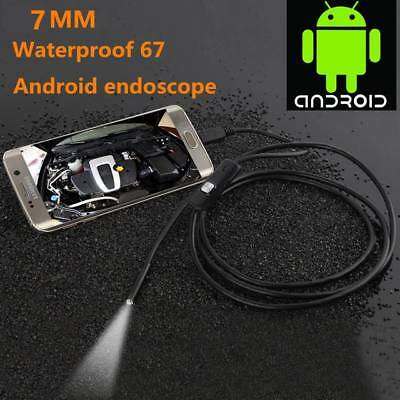 2M 7mm Endoscope 6 LED Waterproof Borescope Inspection HD Camera for PC Android