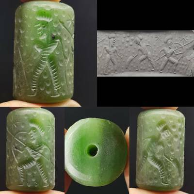 Arrow Fighters Medieval Jade stone seal intaglio Old BEAD   # 4i