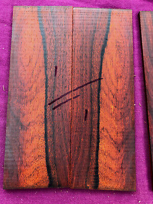 Cocobolo rosewood bookmatched razor scale / veneer / inlay sets