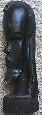 "African Hand Carved Wood Statue - Bearded Man With Long Hair  -9 1/2"" Tall"