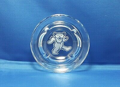 """Grateful Dead Dancing Bears Sandblasted Etched 5"""" Round Glass Ashtray"""