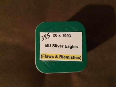 1 Roll of 1993 (Flaws, Blemishes) BU Silver Eagle $1 Coins