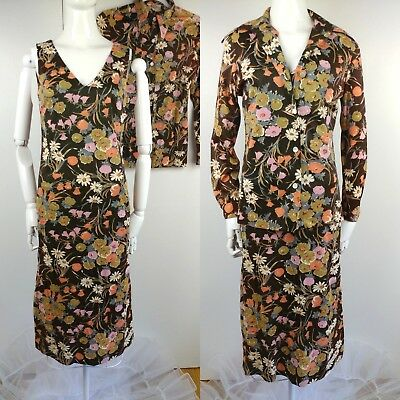 VTG 70s Floral Sheath & Jacket Disco Lounge Wear Slinky Brown Pearl Buttons S