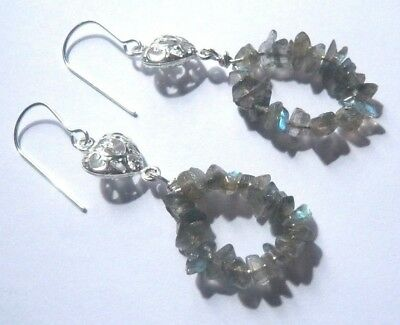 Sterling Silver LABRADORITE Filigree Heart Semi Precious Gemstone Hook Earrings