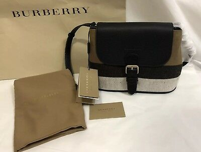 NWT BURBERRY GRAINY Canvas Check Small Cowan Crossbody Bag  8a532aefafd50