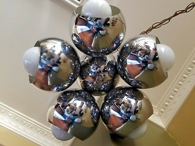 Vintage Mid Century Ceiling Lamp Chrome Ball Georges Kovacs Style Rare 1960's