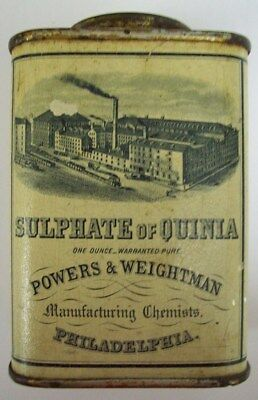Antique Medicine Tin - Sulphate of Quinia - Powers & Weightman