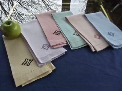 6 Antique Multicolor Huck Linen Bath Guest 14x20 Towels Monogram RBC Hemstitched