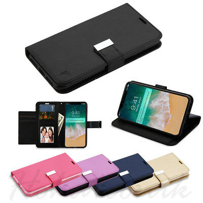 For Apple iPhone Xs Max Cards Leather Wallet Flip Dual Holder Case Cover Pouch
