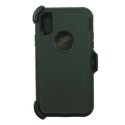 """Black For iPhone XR (6.1"""" screen) Defender Case w/ Clip Fits Otterbox & Screen"""
