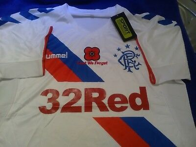 glasgow rangers shirt new white with embroidered logo size med with poppy logo