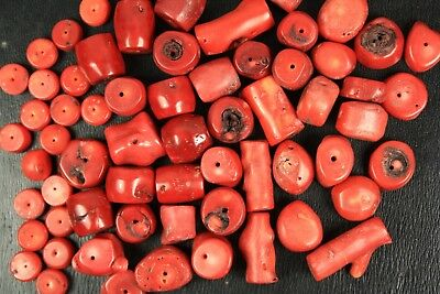 Perles diverses Corail bambou rouge -  Red bamboo Coral pearls - 297 grammes