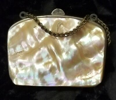"""French Antique Victorian  Mother Of Pearl Coinchange Dance Purse Incomplete 2.5"""""""