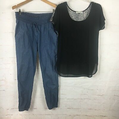 Angel Maternity Sz M Outfit Denim Look Pants And Black White Top EUC (R)