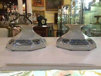 """Pair of Lenox China """"Autumn"""" Pattern Candle Stick Holders"""