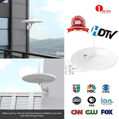 1byone Outdoor TV Antenna 200 Miles Built-in Amplifier 1080P HDTV/VHF/UHF Signal