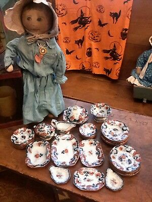 Antique Doll DINNER SET 1850s CHINESE RED FLOW BLUE Cobalt EXT RARE Almost Mint