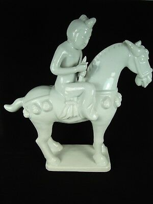 Vintage Chinese White Porcelain Tang Dynasty Horse Rider Figurine 12''h