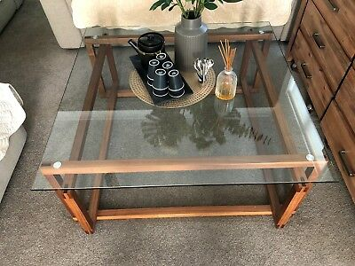Like New Freedom tampered glass and wood tea coffee table clean and tidy