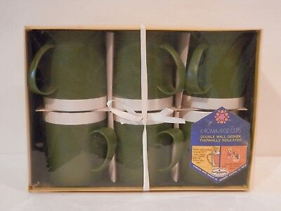 Vintage Avocado Green Plastic  Cups Thermal Insulated 8 oz. mugs Unused set of 6
