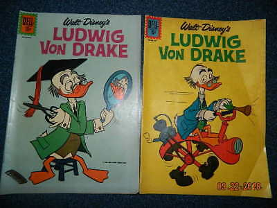 Ludwig Von Drake #1 and #2 1961 VG and 1962 G
