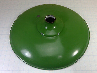 Vintage Antique GREEN ENAMEL Industrial Hanging Ceiling Light Fixture Shade 18""