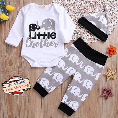 Infant Baby Boys Girls Elephant Little Brother Romper+Long Pants Hat Outfits Set