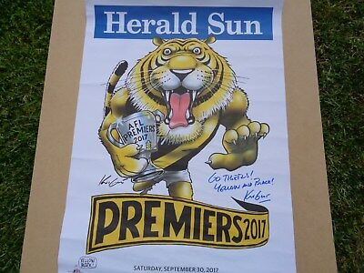 Richmond 2017  Herald Sun  Premiership Poster Hand Signed By Artist Mark Knight