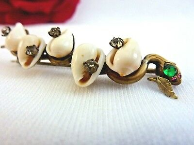 Antique Victorian Snake Pin Brass Seashells Rhinestone Vintage Brooch Late 1800s
