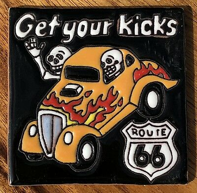 """Talavera Pottery 4"""" tile Mexico Day of the Dead Route 66 Get Your Kicks car man"""
