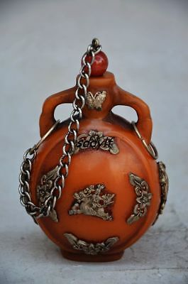 Collectible Delicate Chinese Handmade Flower&dragon Snuff Bottle
