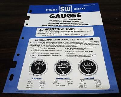 Vintage 1956 Stewart Warner Gauges Dealer Catalog O