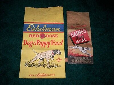 Vintage Eshelman Red Rose Dog & Puppy Food & Gaines Dog Meal Bags
