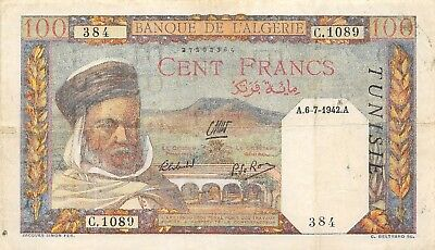 Tunisia   100  Francs  6.7.1942  Series  C  Circulated Banknote LB22