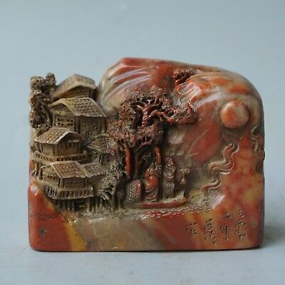 Chinese Exquisite Hand-carved people landscape carving Shoushan Stone seal