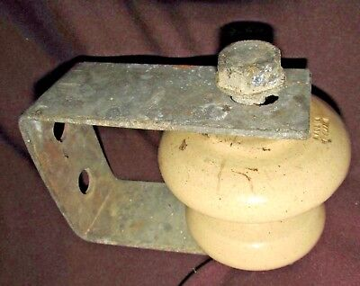 ANTIQUE Ceramic INSULATOR in Galvanised Metal Bracket England Stamp 15CmW