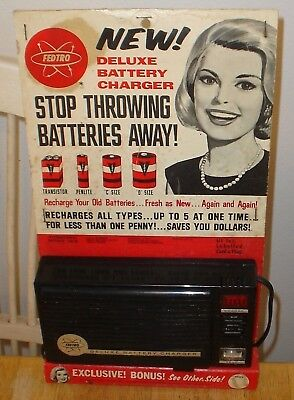 Old Vintage Nos 1965 Fedtro Deluxe Battery Charger In Original Packaging