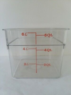 Cambro 6SFSCW 6 Qt Clear Square Polycarbonate Food Storage Container