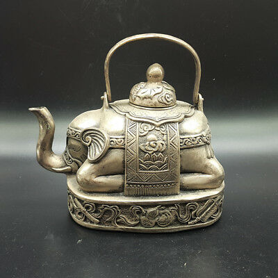 Ancient Chinese hand-carved silver and copper elephant Daming Xuan De Mark a2005