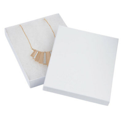 7 x 5 ½ x 1 inch White Embossed Cotton Filled Jewelry Boxes - 100 Pack