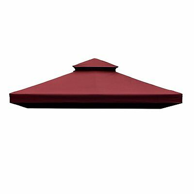 10x10ft Square Gazebo Replacement Cover 2 Tier Garden Sun Shade Waterproof UV